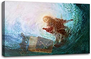 Wall Art The Hand of God Painting - Jesus Reaching Into Water Save Bible Wall Decorations Artwork Prints Canvas Print Picture Wall Decor Framed Ready to Hang