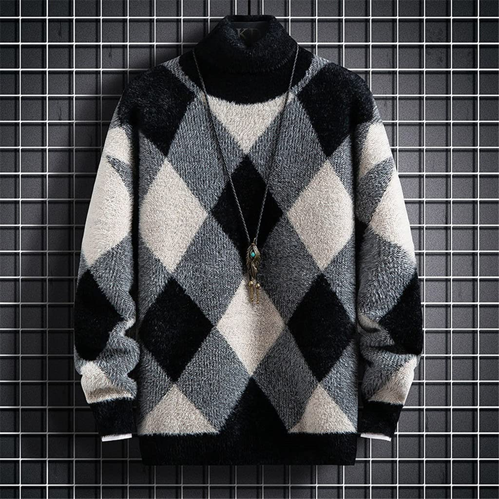 ZTTZX Cashmere Sweater Men Winter Turtleneck Pullover Jumper Soft Thick Pull Homme Fashion Mens (Color : C, Size : XL code)