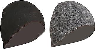 Gajraj Unisex Cotton Helmet Caps - Pack of 2 (Black & Grey)