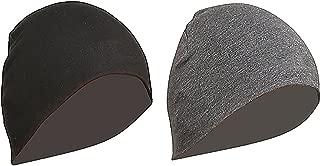 Gajraj WV01RCA08100 Cotton Helmet Cap (Black and Grey, Pack of 2)