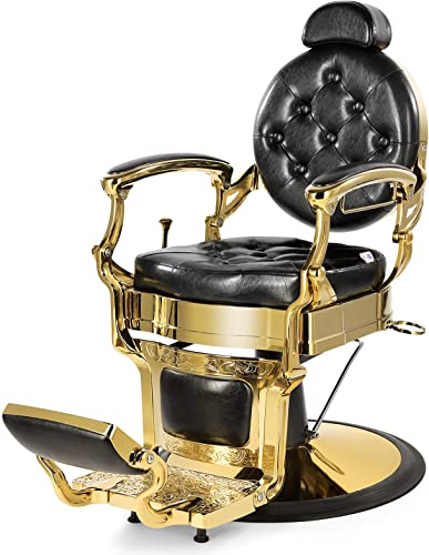 discount Artist Hand Retro Barber Chair Heavy Duty Barber Chairs Vintage online sale Salon Chair Hydraulic Recline Beauty Spa Styling Equipment Rounded Cushioning with Ppuckered Button sale (Gold) online