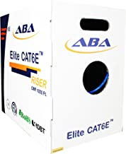 Infinity Cable Cat6e CMR Riser 600MHz UTP, 24AWG, Solid, Bare Copper, 1000 Feet, UL Certified, Ethernet Cable, Easy to Pull (Reelex II) Box, Blue