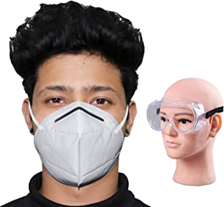 HACER Combo of 1 Piece Goggle K-N95 FDA Approved Disposable Face Mask with Nose Pin for Men & Women (10 Pcs)