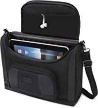USA GEAR Tablet Bag Compatible with 11 inch iPad Pro and 10.5 inch iPad Air - Compact Messenger Bag with Durable Exterior Shell, Soft Adjustable Interior Fits Smart Keyboard, Pencil, Charger (Black)