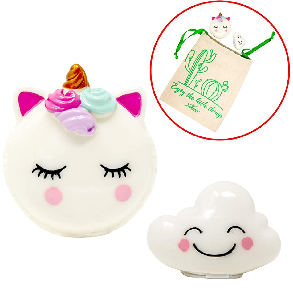 Streamline Lip Gloss 2 Pack, With Unicorn Shaped Lip Gloss Duo Mirror Compact, and Happy Cloud Lip Gloss