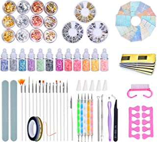 84 Pcs Completed DIY Nail Art Set,Nail Art Suppliers with Nail Art Brush,Nail Dotting Tools,Nail Rhinestones,Nail Stickers,Striping Tapes,Nail Decorations Kit & Nail Art Tools