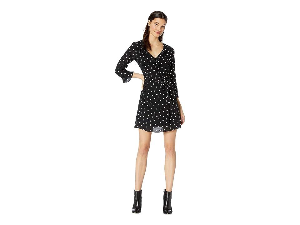 Sanctuary Eye Candy Faux Wrap Dress (Black Dots) Women