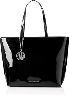A|X Armani Exchange Zip Top Tote Bag, black