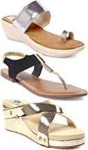 meriggiare Zhena 3 Pairs of Women Footwear Combo One Black Causal Flats One Silver Party & Festive Wedges and One Golden Party & Evening wear Wedges