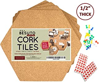"""Premium Hexagon Cork Board Tiles by BESUTO 11.67""""X 11.67"""" – 1/2"""" Thick Bulletin Board – Extra Strength 3M Adhesive Squares Included – 4 Pack Frameless Cork Tiles for Wall – Bonus Push Pins"""
