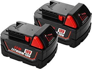 2-Pack 18V 4.0Ah Battery for Milwaukee 18volt Lithium Battery 48-11-1820 48-11-1840 48-11-1850 48-11-1828 48-11-1815 Cordless Power Tools