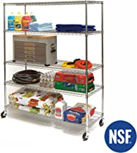 Seville Classics SHE24605Z MEGA Rack UltraDurable Commercial-Grade 5-Tier NSF-Certified Wire Shelving with Wheels, 60
