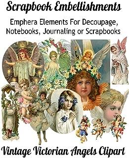 Scrapbook Embellishments: Emphera Elements for Decoupage, Notebooks, Journaling or Scrapbooks. Vintage Victorian Angels Clipart