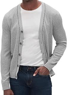 Banana Republic Tipped Trim V-Neck Button Cardgian Sweater Light Grey