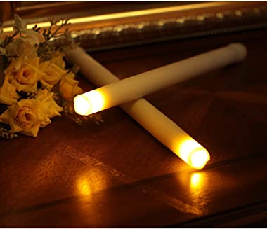 """LED Flameless Taper Candle, 9"""" Dripless Real Wax Electric Candle with Timer Function, Battery Operated Candle for Home an"""
