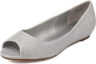 Women's Dories Flats Shoes Low Wedge Heel Peep Toe