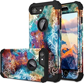 Fingic iPhone 8 Case, iPhone 7 Case, Floral 3 in 1 Heavy Duty Protection Hybrid Hard PC & Soft Silicone Rugged Bumper Anti Slip Full-Body Shockproof Protective Cover Case for Apple iPhone 7/8,Mandala