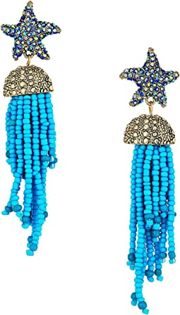Blue Starfish and Tassel Drop Earrings