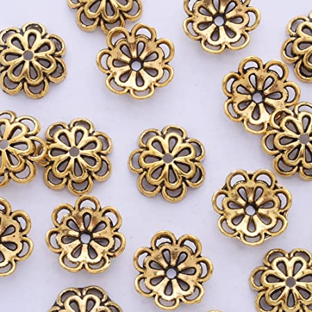 100 PCS Flower Bead Caps Filigree Basket Bead End Hollow Flower Bead End Caps For Jewelry Making Antique 7mm Silver Festival Decoration
