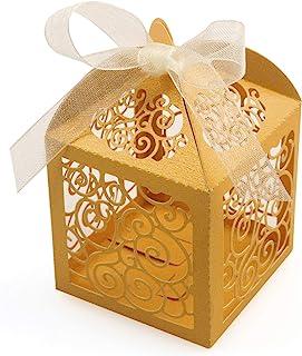 Gold Polka Dot Hexagon Favor Boxes 24 Pieces Party Supplies