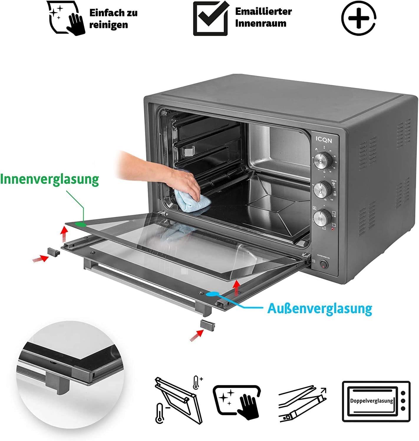ICQN 70XXL Mini-Four | 1800 W | Four a poser avec chaleur tournante , 5 fonctions | Four à pizza | Double vitrage | Minuterie Mécanique | Cavité en émaillée Acier Inoxydable Gris.