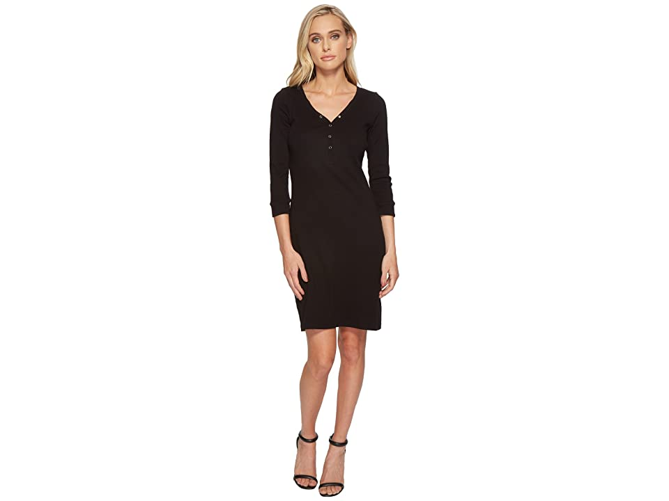 Three Dots Heritage Knit Henley Dress (Black) Women