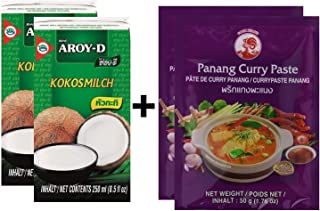 Paquete de 2 Leche de Coco AROY-D [2x 250ml] Cocosmilc - Leche de Coco + Pasta de Curry de Pollo 50g Panang (2x50g)
