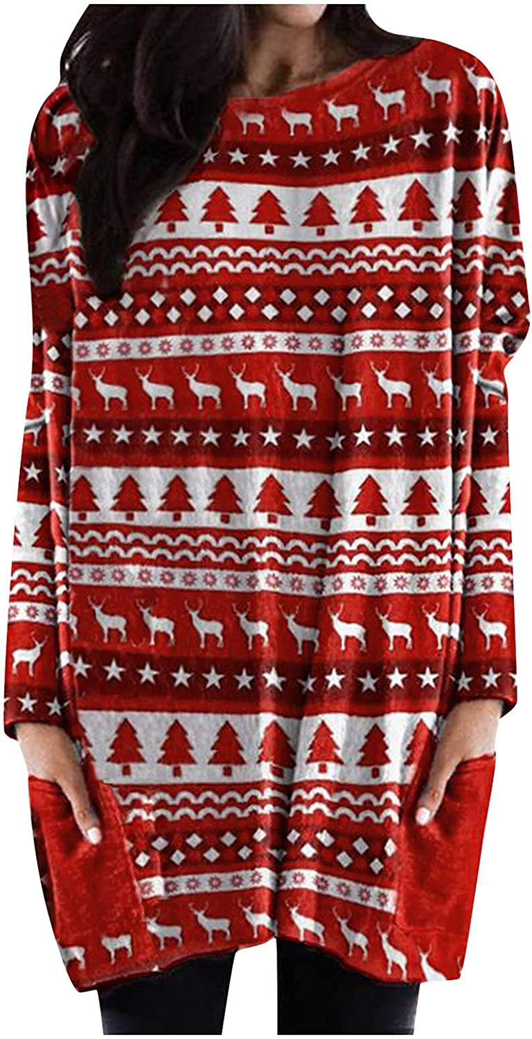 Christmas Sweater Dresses for Women Long Sleeve Fall Trendy Graphic Plus Size Blouses Loose Fit Crewneck Sweatshirts
