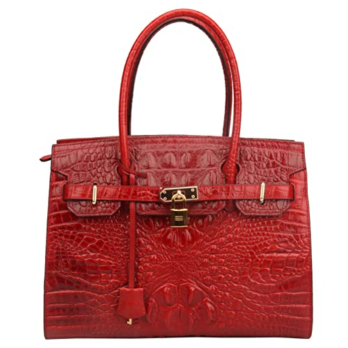 Ainifeel Women s Crocodile Embossed Leather Handbags Top Handle Handbag On  Clearance 94eb3d568974b