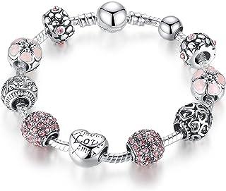 Pulseras Niñas Corazo del Amor Chapado en plata Rosa Cristal Abalorio de la joyería Regalos de las mujeres