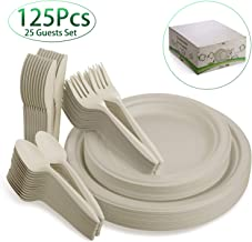 Fuyit 125Pcs Disposable Dinnerware Set, Compostable Sugarcane Cutlery Eco-Friendly Tableware - Microwavable Biodegradable Paper Plates, Forks, Knives and Spoons Combo for Party, BBQ, Picnic(Natural)