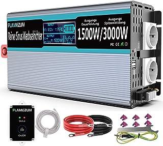 1500W Wechselrichter Reiner Sinus 12V auf 230V Spannungswandler Konverter mit Zwei AC steckdosen,2 x USB Port   Fernbedienung und Intelligentes Display   Sonnensystem Pure Sine Wave Inverter