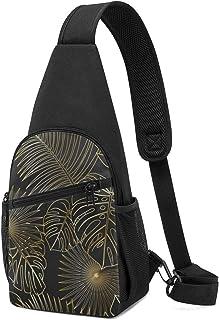 Bandolera de hombro ligera con patrón de exótica selva, diseño tropical de hojas doradas, mochila de hombro, mochila cruza...