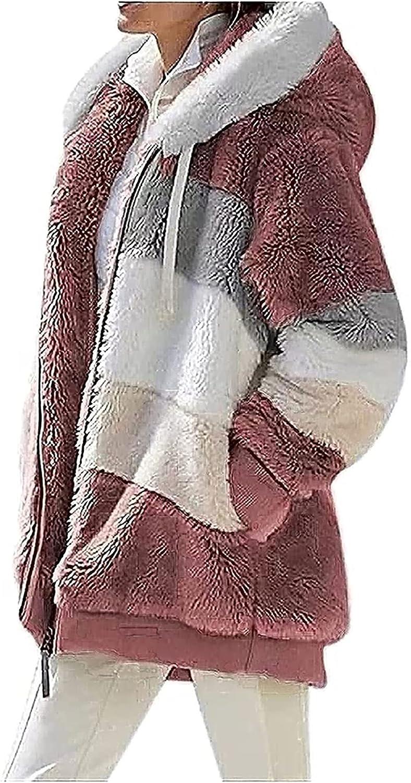 BaoRong SHOP Women's Sherpa Jacket Casual Lapel Fleece Fuzzy Faux Shearling Zipper Teddy Coat Oversized Outwear