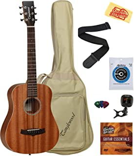 Tanglewood TW2T Mahogany Travel Size Acoustic Guitar Bundle with Gig Bag, Clip-on Tuner, Strap, Strings, Picks, Austin Baz...
