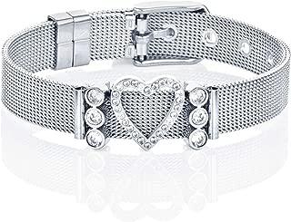 Damenarmband Schmuck LUXERY Damen CHARMBAND Set Angebot aus Edelstahl Gr/ö/ßen verstellbar gestalten Anh/änger Charms austauschbar Mesh Charm Armband