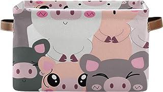 QMIN Panier de rangement en forme de cochon mignon, grande boîte de rangement pliable pour jouets, panier à linge pliable ...