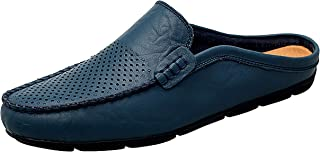 Go Tour Mens Mules Clog Slippers Breathable Leather Slip on Shoes Casual Loafers Blue Punched 15/52