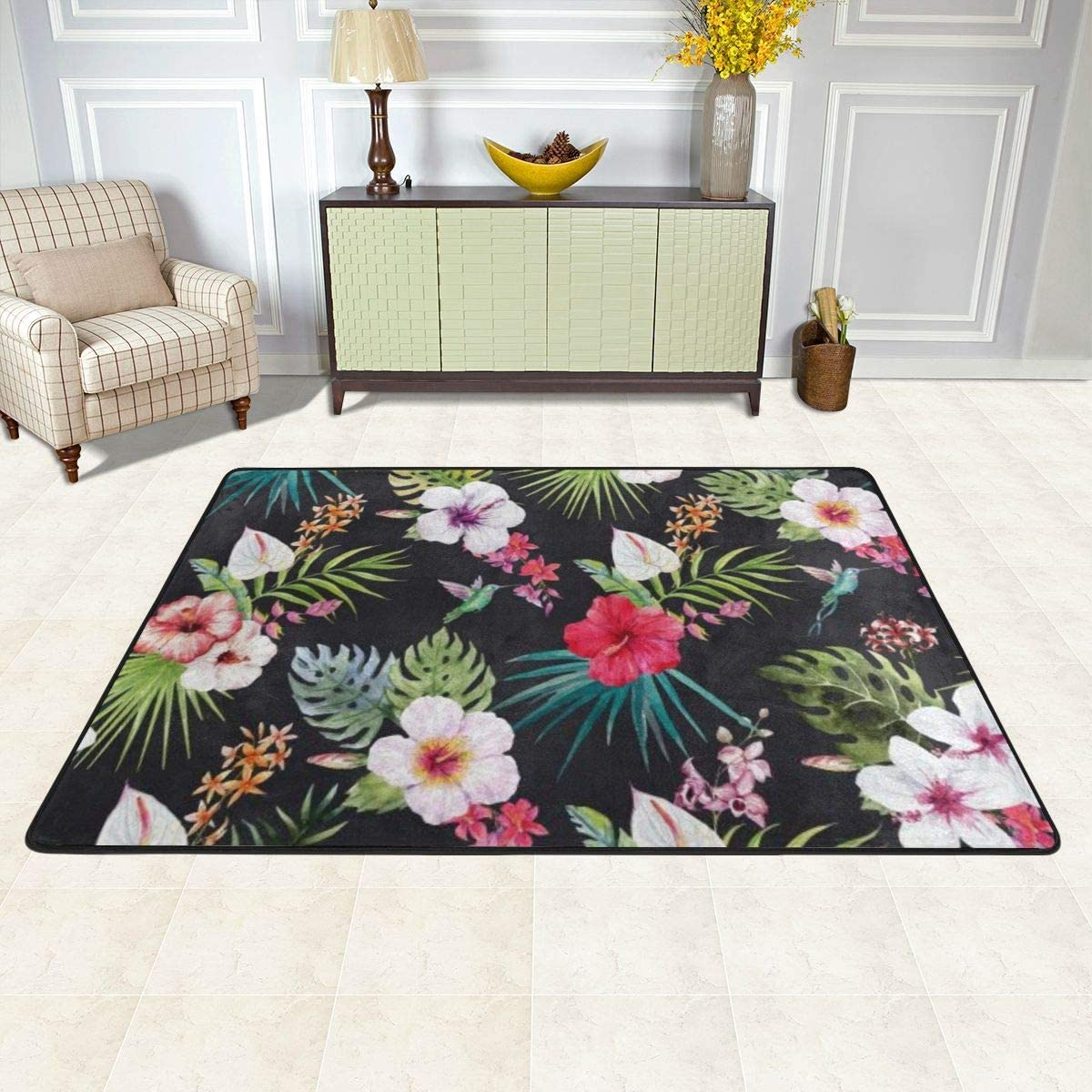 Luxury Carpet 別倉庫からの配送 for Floor Indoor and Black Floral Decoration 特価キャンペーン Pink