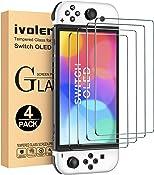 iVoler [4 Stuks] Screen Protector Compatibel met Nintendo Switch (OLED Model) 7'' 2021, Film van Gehard Glas...