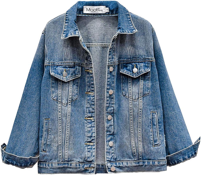 bluee Long Sleeved Denim Jacket Loose Boyfriend Denim Jacket Retro Ladies Top (color   bluee, Size   L)