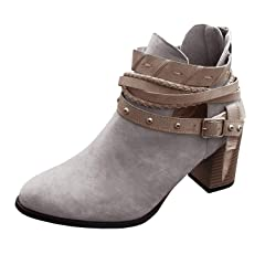 61da1fd92 Women's Ankle Buckle Booties V Cut Stacked Heel Back Zipper B ..