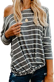 INIBUD Long Sleeve T Shirt Women Striped Loose Batwing Sleeve Stripe Blouse Tunic Off The Shoulder Tops