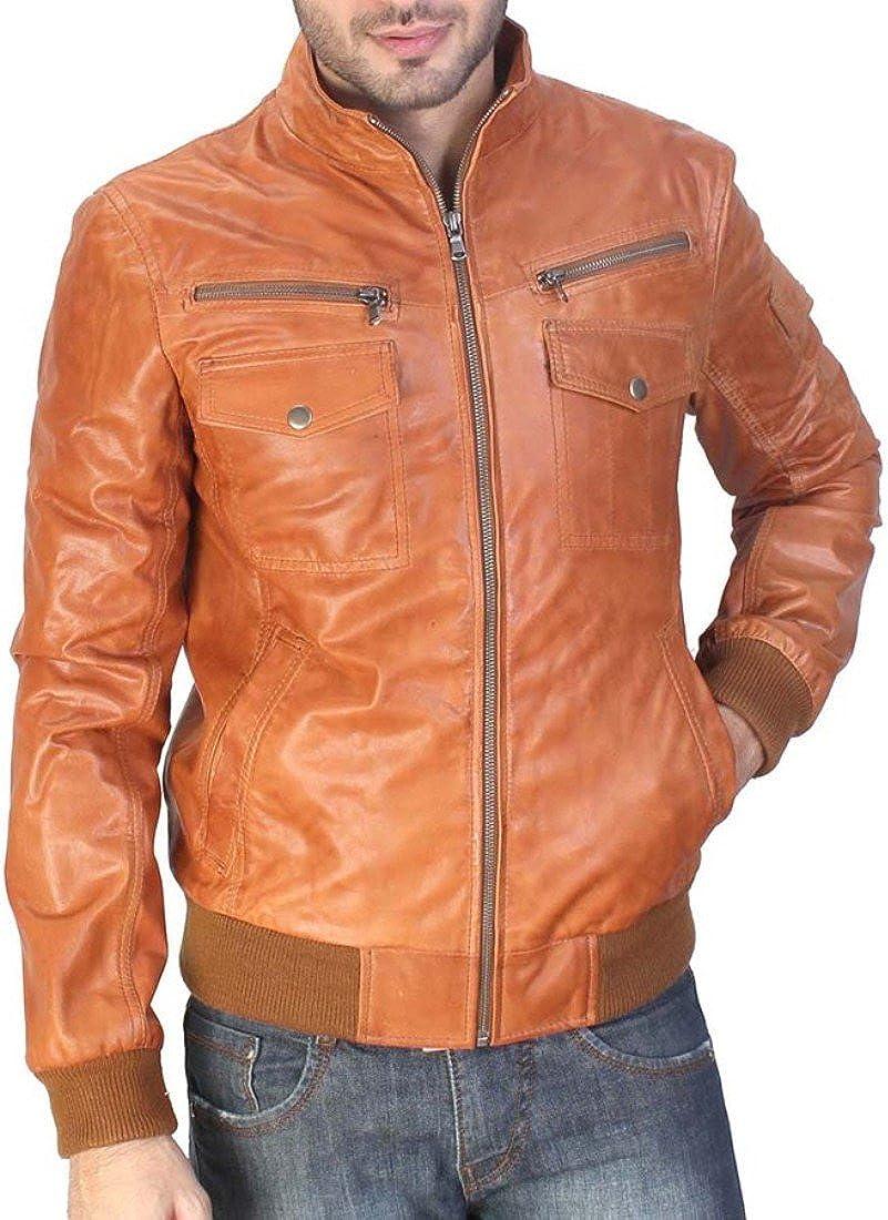 World of Leather Lambskin Leather Jacket Cognac Tan Bomber