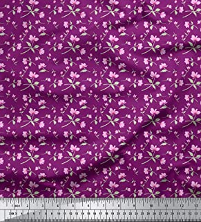 Soimoi Dressmaking Material Floral Printed 58 Inches Wide Cotton Voile Fabric by The Yard-Purple
