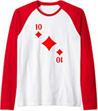 Ten of Diamonds Playing Card Costume Halloween Deck Cards Raglan Baseball Tee