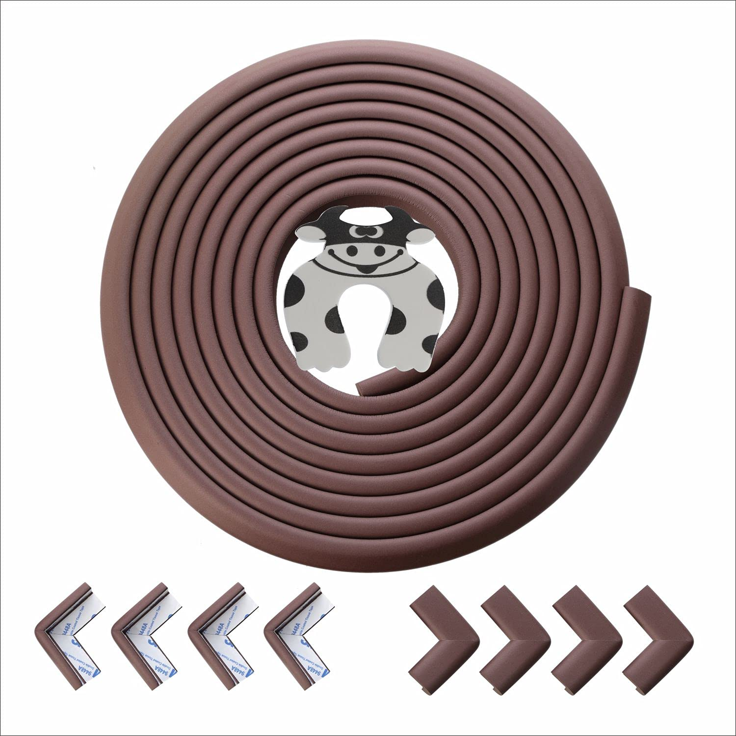 Baby Proofing Edge Corner Guard - Furniture Edge Corner Protector with 3M Adhesive Tape Safety Bumper for Kids Foam Cushion Bumpers Protector for Table Desk 20.4ft(18ft Edge + 8 Corners ) Coffee Brown