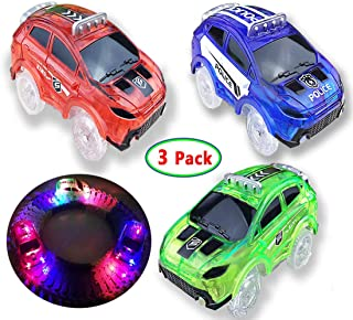 Track Cars 3 Pack, Light up Track Replacemnet Toy Cars, with 5 LED Lights, Compatible with Most Tracks, Boys and Girls