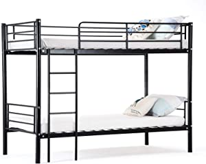 mecor Black Metal Bunk Beds Frame 2x3FT Single Bed for Kids Children and Adults