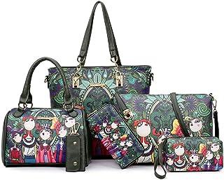 AINUOEY Bolsos Para Mujer Shoppers y Bolsos de Hombro Bolsos Bandolera Vestir 5 piezas Verde Negruzco